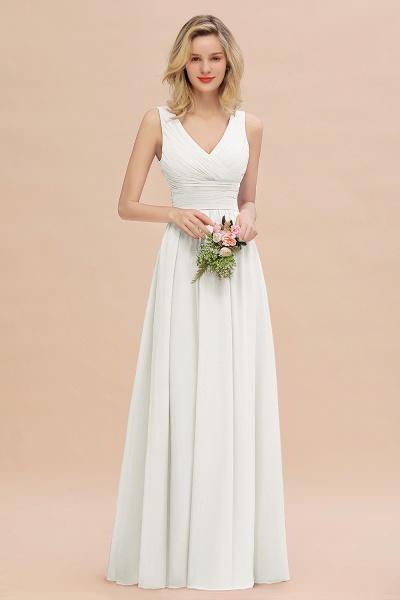 BM0752 Elegant A-line V-Neck Ruffles Long Bridesmaid Dress_2