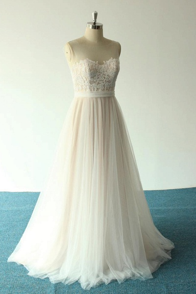 Awesome Illusion Lace Tulle A-line Wedding Dress_4