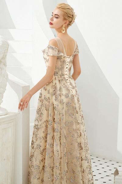 Graceful V-neck Tulle A-line Prom Dress_9