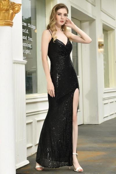 Amazing Spaghetti Strap Split Sequins Prom Dress_9