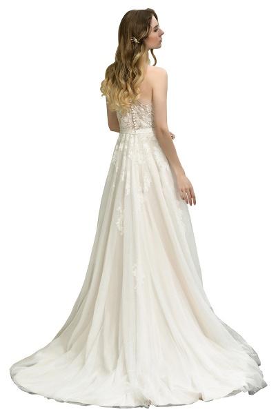 One Shoulder Lace Tulle Backless Wedding Dresses_3
