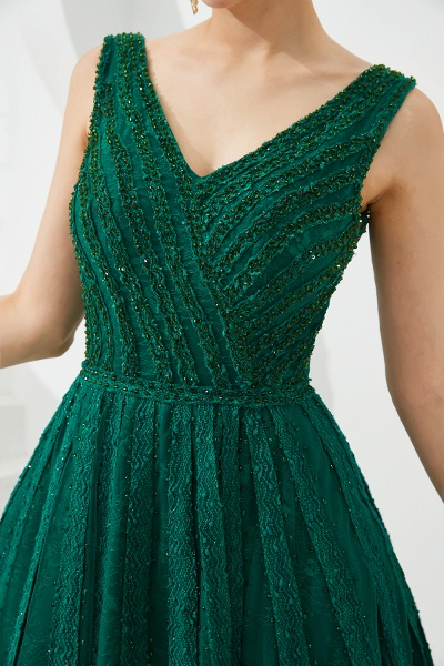 Awesome V-neck Tulle A-line Prom Dress_14