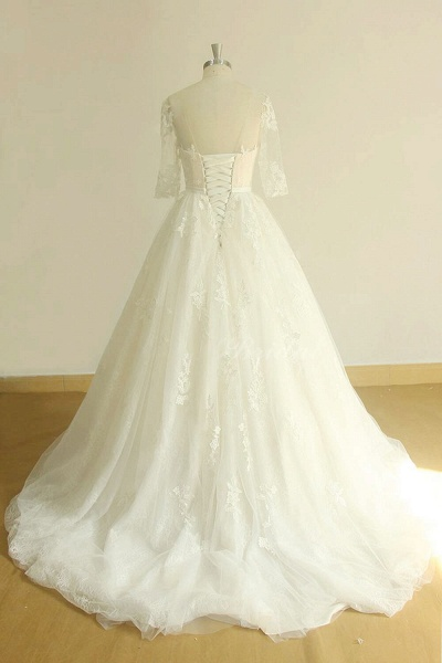 Chic Lace-up Appliques Tulle A-line Wedding Dress_3