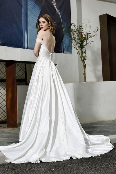 Off the Shoulder Appliques Satin Wedding Dress_3