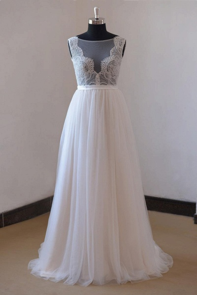 Chic Lace Floor Length Tulle A-line Wedding Dress_1