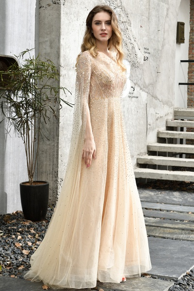 Luxury Shawl Sequined A-line Long Prom Dress_13