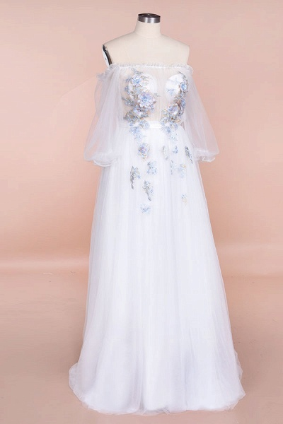 Off-the-Shoulder Appliques Tulle Wedding Dress_4