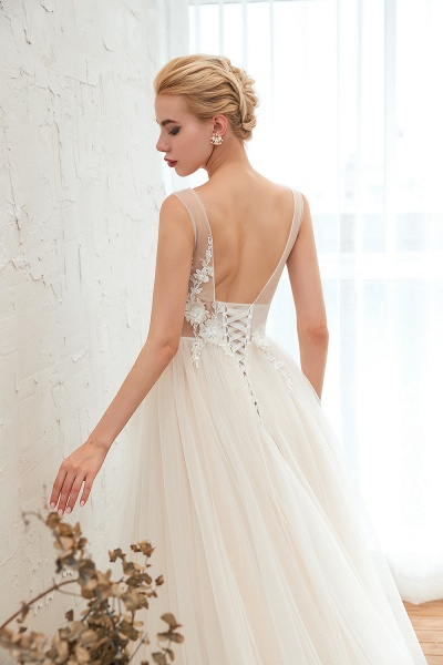Chic Lace-up Appliques Tulle A-line Wedding Dress_10