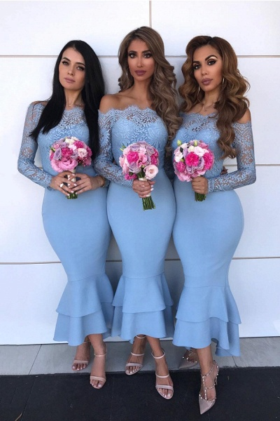Graceful Lace Long Sleeve Mermaid Bridesmaid Dress_2