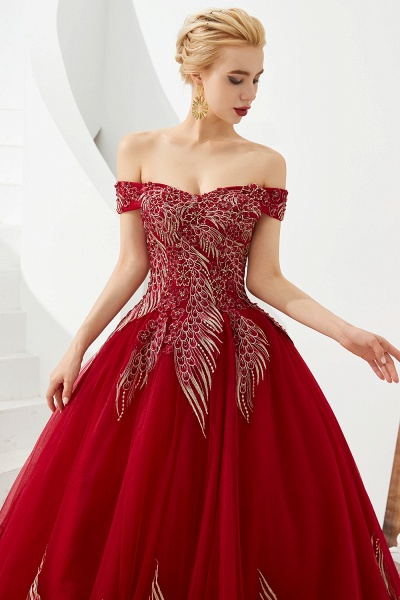Beautiful Off-the-shoulder Tulle Ball Gown Prom Dress_6