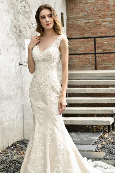 Straps Lace Backless Floor Length Wedding Dresses_10