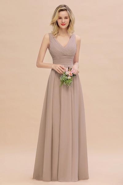 BM0752 Elegant A-line V-Neck Ruffles Long Bridesmaid Dress_16