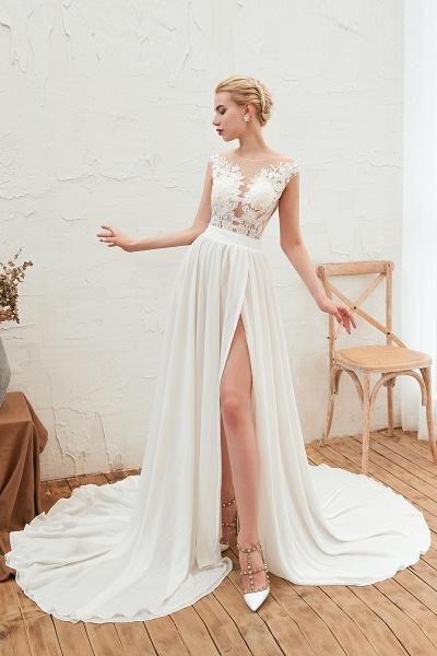 High Slit Appliques Chiffon A-line Wedding Dress_7