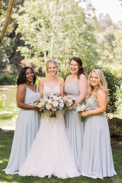 Plain Dusty Blue Spaghetti Straps V-neck Chiffon Long Bridesmaid Dresses_1