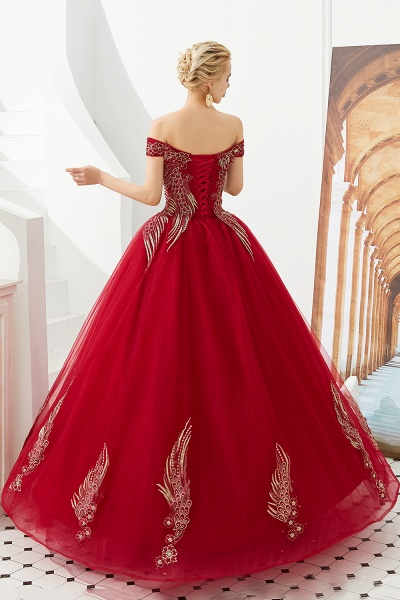 Beautiful Off-the-shoulder Tulle Ball Gown Prom Dress_9