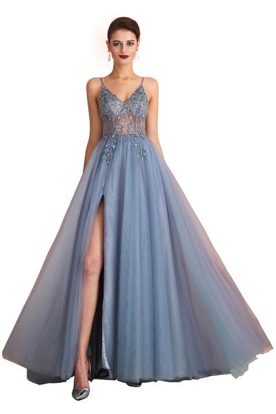 Best V-neck Tulle A-line Prom Dress_2