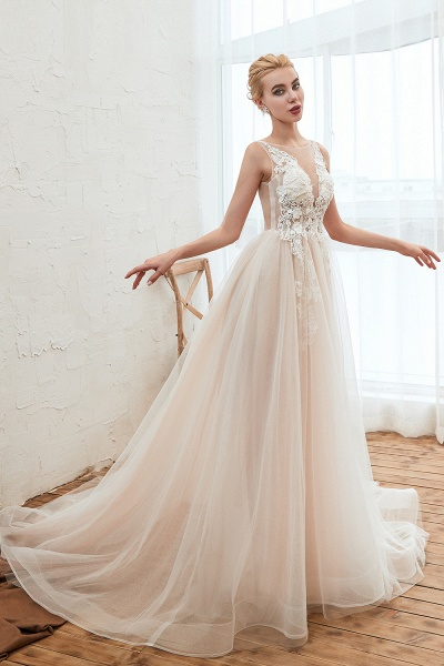 Eye-catching Appliques Tulle A-line Wedding Dress_5