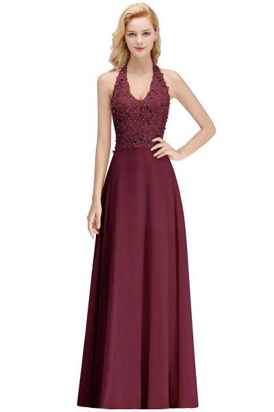 Halter Composite Emulation Silk A-line Floor Length Bridesmaid Dress_13
