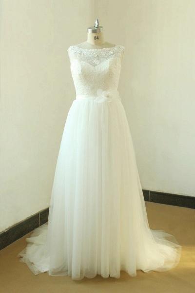 Elegant Illusion Lace Tulle A-line Wedding Dress_1