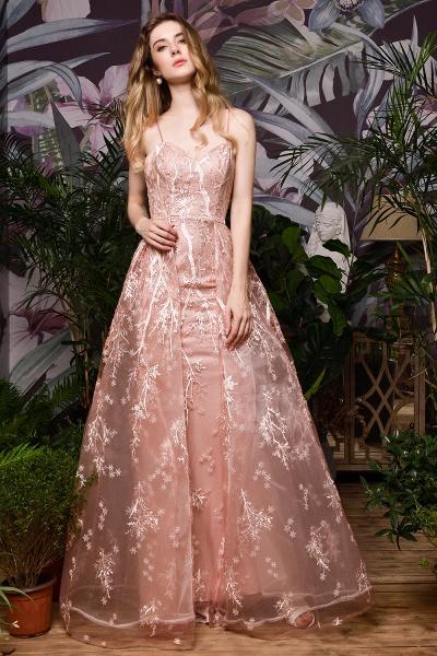 Dusty Pink Spaghetti Strap A-line Lace Prom Dress_9
