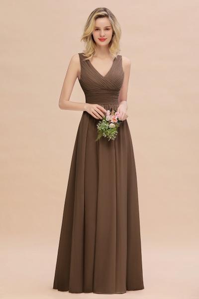 BM0752 Elegant A-line V-Neck Ruffles Long Bridesmaid Dress_12