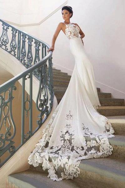 Precious Spaghetti Strap Lace Mermaid Wedding Dress_2