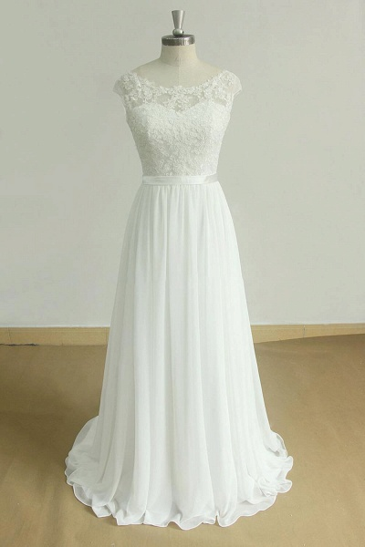 Chic Cap Sleeve Lace Chiffon A-line Wedding Dress_1