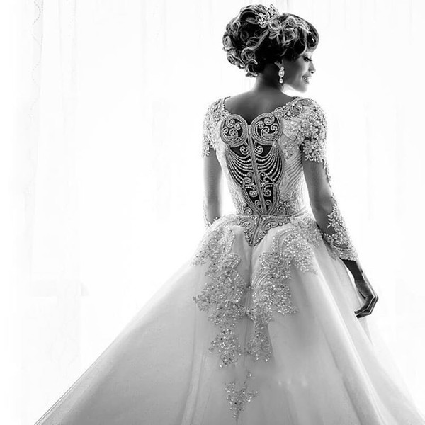 Mermaid Beads Lace Appliques Long Sleeve Wedding Dresses with Overskirt_5
