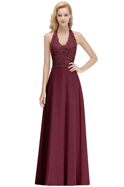 Halter Composite Emulation Silk A-line Floor Length Bridesmaid Dress_3