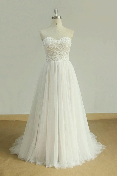 Detachable Lace-up Tulle A-line Wedding Dress_1