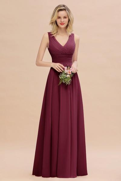 BM0752 Elegant A-line V-Neck Ruffles Long Bridesmaid Dress_44