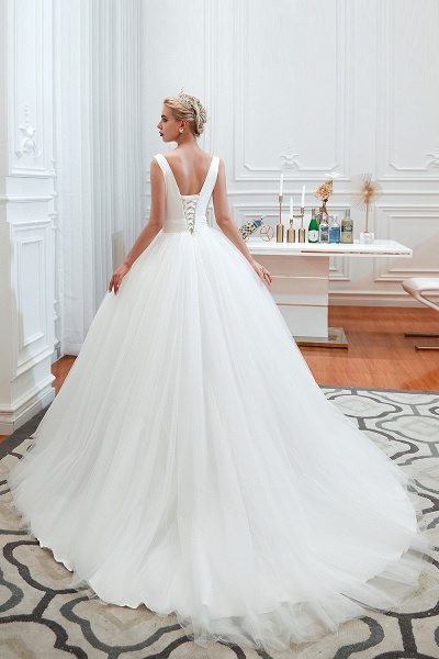 Elegant Lace-up Ruffle Tulle A-line Wedding Dress_8