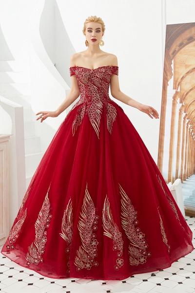Beautiful Off-the-shoulder Tulle Ball Gown Prom Dress_3