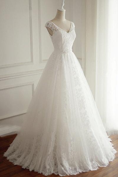 Eye-catching V-neck Lace A-line Wedding Dress_4