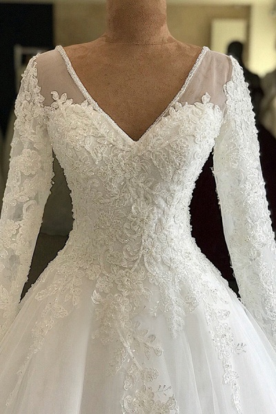 Gorgeous Long Sleeve Appliques Tulle Wedding Dress_3