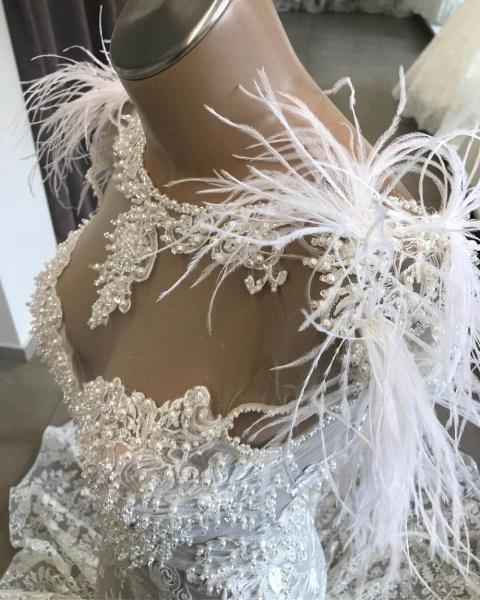 Glorious Beading Appliques Mermaid Wedding Dress_4
