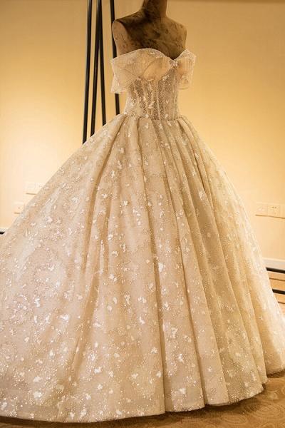 Amazing Strapless Lace-up Satin Wedding Dress_4