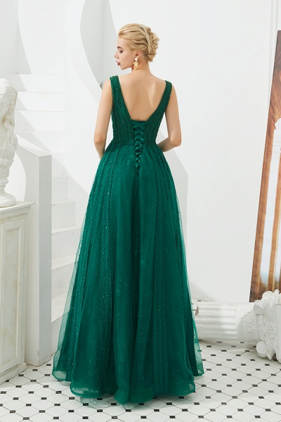 Awesome V-neck Tulle A-line Prom Dress_6