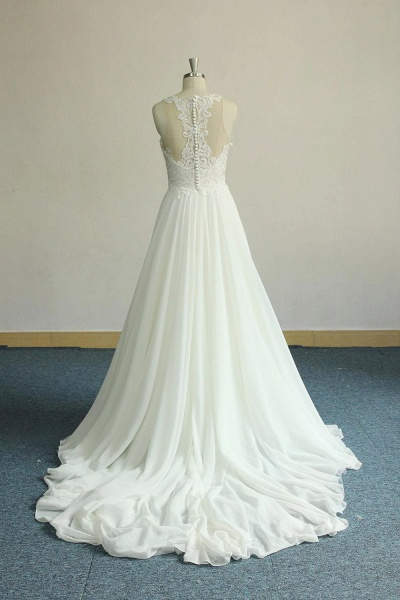 Amazing Appliques Chiffon A-line Wedding Dress_3