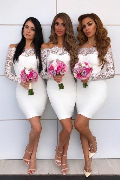 Long Sleeve Off Shoulder Lace Mini Bridesmaid Dress_1