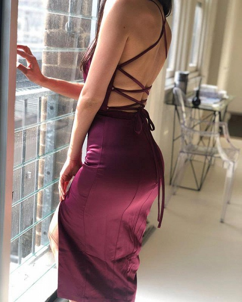 V-neck Emulation Silk Elastic Mermaid Floor Length Bridesmaid Dress_3