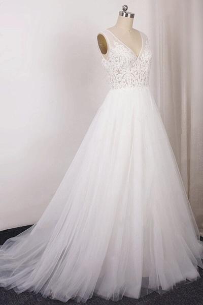 V-neck Appliques Tulle A-line Wedding Dress_4