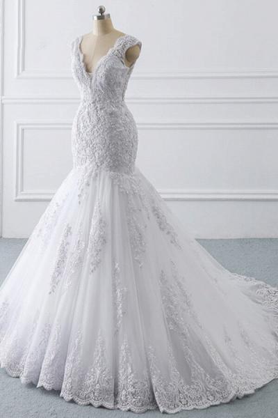 Chic V-neck Appliques Mermaid Tulle Wedding Dress_3