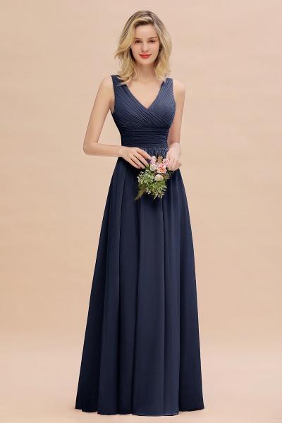BM0752 Elegant A-line V-Neck Ruffles Long Bridesmaid Dress_28