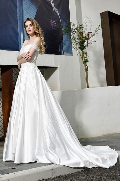 Off the Shoulder Appliques Satin Wedding Dress_9