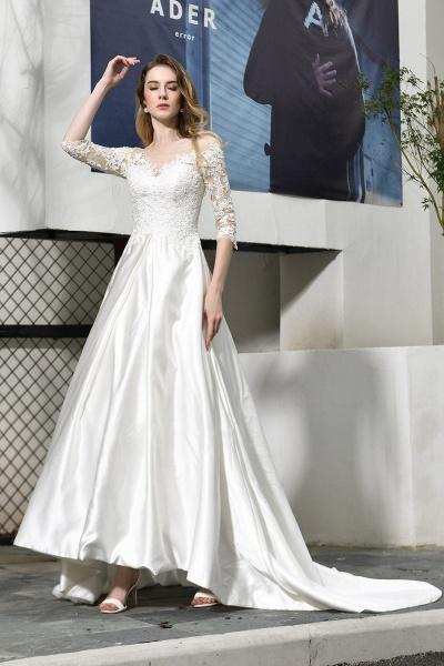 Lace Half Sleeves V Neck Sheer Tulle Wedding Dress_1