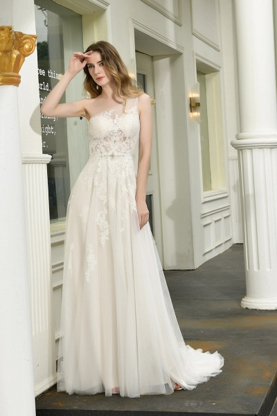 Chic One Shoulder Tulle Lace A-Line Wedding Dress_1