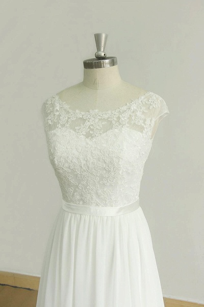 Chic Cap Sleeve Lace Chiffon A-line Wedding Dress_4