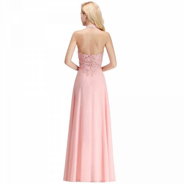 Halter Composite Emulation Silk A-line Floor Length Bridesmaid Dress_17