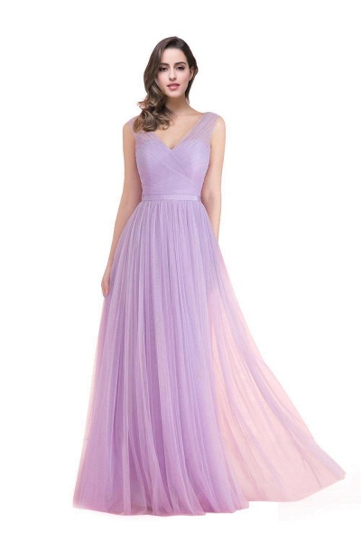 ELLIOT | A-line Sleeveless V-neck Floor-length Tulle Bridesmaid Dresses_2